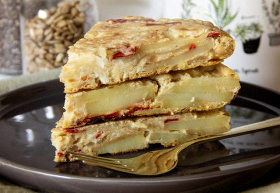 recette vegan tortilla de patatas aux oignons
