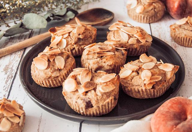 recette facile muffins vegan aux pêches et amandes