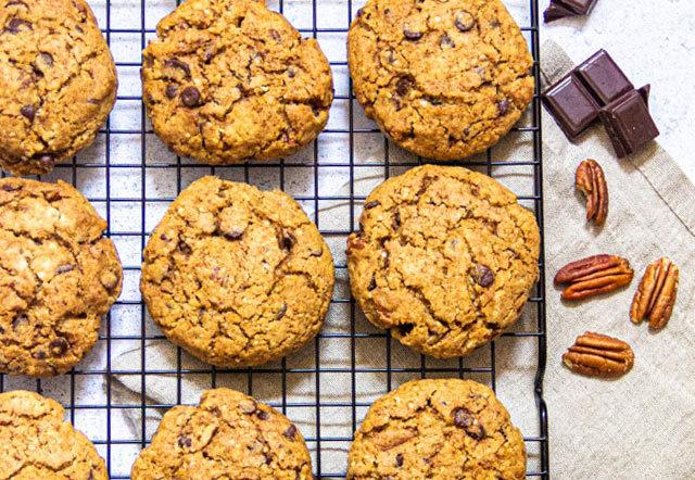 Recette de cookies végétaliens au chocolat et noix de pécan (sans oeufs, sans beurre, sans levure)