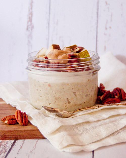 overnight porridge poire et noix de pécan